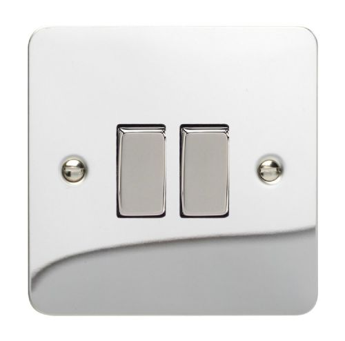 Varilight XFC71D Ultraflat Polished Chrome 2 Gang 10A Rocker Light Switch (1 x Intermediate 1 x 2W)